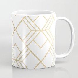 Geometrical white faux gold elegant stylish diamonds Coffee Mug