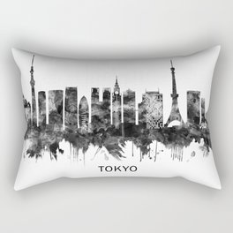Tokyo Japan Skyline BW Rectangular Pillow