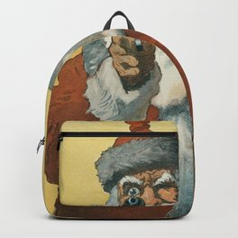 Hands up Photomechanical Print Showing a Santa Claus Pointing a Handgun (1912) by Will Crawford Backpack