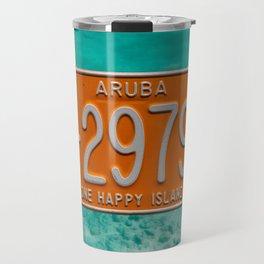 1999 Aruba License Plate One Happy Island Tag Travel Mug