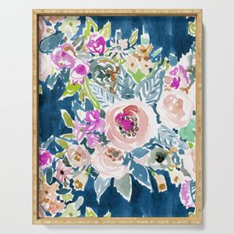 NAVY SO LUSCIOUS Colorful Watercolor Floral Serving Tray
