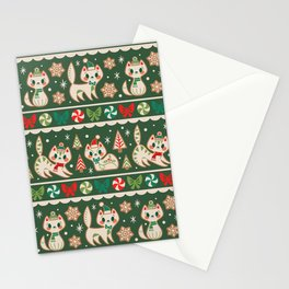 Striped Gingerbread Kitties (Green) Stationery Cards