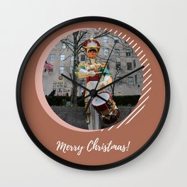 Merry Christmas NYC Rockefeller Plaza Drummer Boy Wall Clock