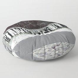 Collage - Black on White Floor Pillow