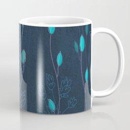 Elegant Teal Leaves Coffee Mug