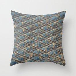 Blue Diamond Metal Throw Pillow