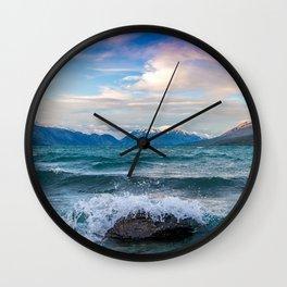 Lake Tekapo coast waves mountains New Zealand Wall Clock