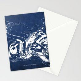 Suzuki motorcycle blueprint, white line, blue vintage background Stationery Cards