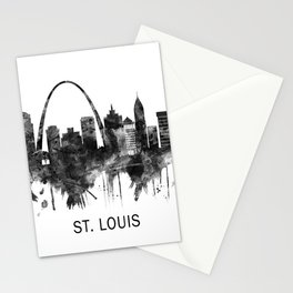 St. Louis Missouri Skyline BW Stationery Cards