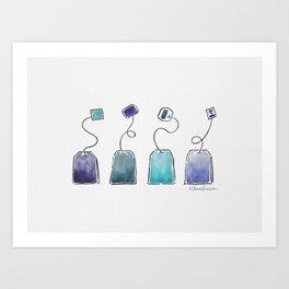 Blue tea bags Art Print