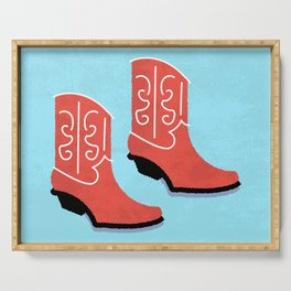 Red Cowboy Boots Serving Tray
