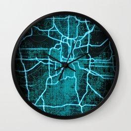 Kansas City, MO, USA, Blue, White, Neon, Glow, City, Map Wall Clock