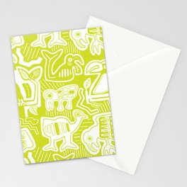 Molas Molas | Tropical Bird Pattern | Lime  Stationery Cards