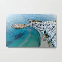 Greece Naxos City Street Coast From above Houses Cities Building Metal Print