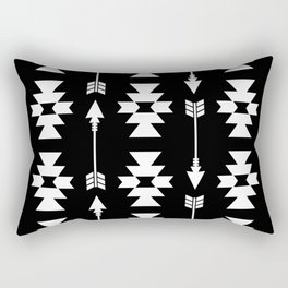 Southwestern Arrow Pattern 235 Black and White Rectangular Pillow