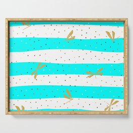 Gold Dragonfly Christmas seamless pattern and Gold Confetti on White and Blue Cyan Stripes Background Serving Tray