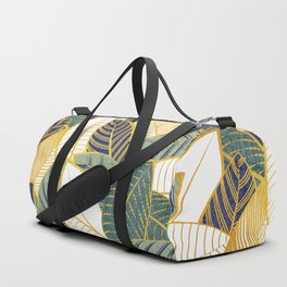 Leaf wall // navy blue pine and sage green leaves golden lines Duffle Bag