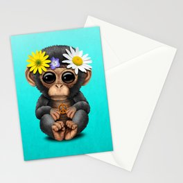 Cute Baby Chimp Hippie Stationery Cards