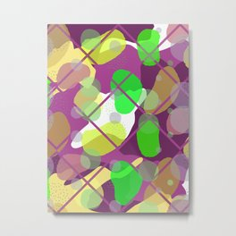 Retro Abstract Multicolored 80s Burgundy Memphis Pattern Metal Print