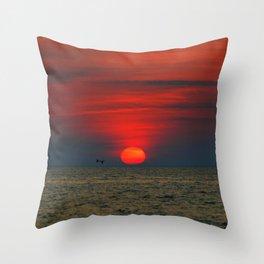 SUNSET AT SILVER BEACH Throw Pillow