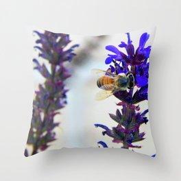Purple Bee Sideways Throw Pillow