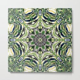 Green Mandala Pattern Metal Print