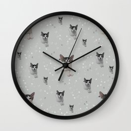 Cats Pattern.   cats, pattern, children, pet, feline, animals, Society6. Wall Clock