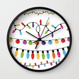 Light Bulbs Collection. Set of Christmas lights for Xmas holiday greeting card design vector backgro Wall Clock