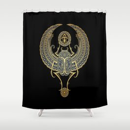 Golden Blue Winged Egyptian Scarab Beetle with Ankh Shower Curtain