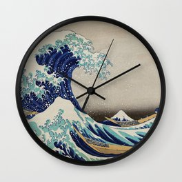 The Great Wave of Kanagawa vintage illustration for home decoration Wall Clock