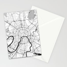 Moscow Map Gray Stationery Cards