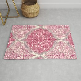 Happy Place Doodle in Berry Pink, Cream & Mauve Rug