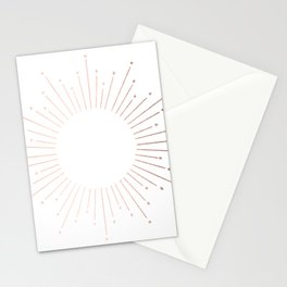 Sunburst Moon Dust Bronze on White Stationery Cards