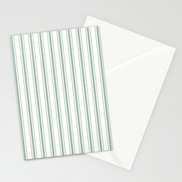 Mattress Ticking Wide Striped Pattern in Moss Green and White Stationery Cards
