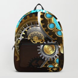 Unusual Clock with Gears ( Steampunk ) Backpack