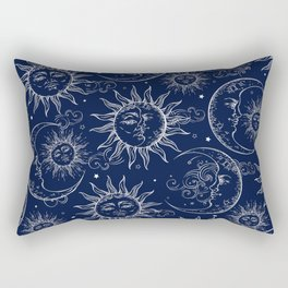 Blue Magic Celestial Sun Moon Stars Rectangular Pillow