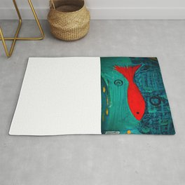 Red fish, swimming alone Rug
