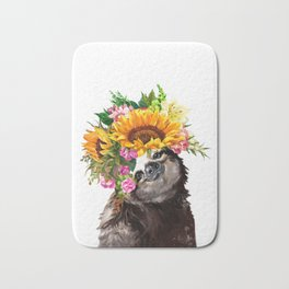 Sloth with Sunflower Crown Bath Mat