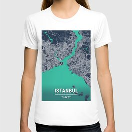 Istanbul Blue Dark Color City Map T-shirt