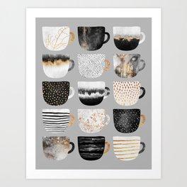 Pretty Coffe Cups 3 - Grey Art Print