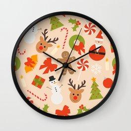 Festive Christmas Mix Pattern Wall Clock