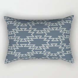 Southwest Azteca Geometric Pattern in Neutral Blue Gray Rectangular Pillow