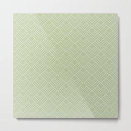 Elegant Green Mid Century Modern Geometry Pattern Metal Print