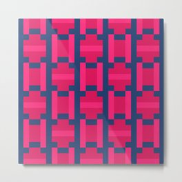 PUZZLE bright red and pink shapes on navy blue background Metal Print