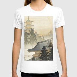 Japanese Pagoda and Rainbow - Vintage Japanese Woodblock Print T-shirt