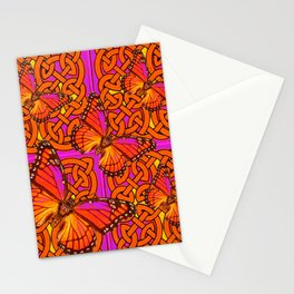 ORANGE MONARCH BUTTERFLIES CELTIC ART VIOLET COLOR Stationery Cards