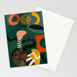 mid century shapes garden party Stationery Cards