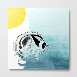 CEZ-090A Vintage Hawaiian Fish on Ocean Blue and Yellow Contemporary Watercolor - Racoon Buttterflyfish Metal Print