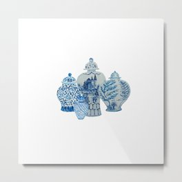 Four 4 Blue and White Ginger Jars  Metal Print