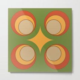 Groovy Circular Retro Pattern Design #2 Metal Print